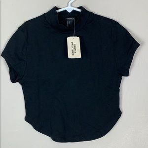 NWT Forever 21 Mock Neck Crop Tee